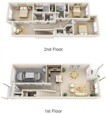 Floor Plan  The Landing Apartments The Columbia Floor Plan 1641 Square Feet