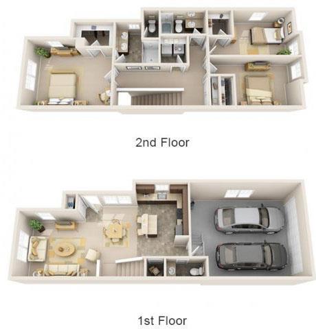 Floor Plan  The Landing Apartments The Hudson 3x2.5 Floor Plan 1566 Square Feet