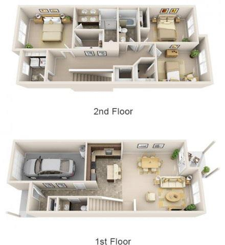 Floor Plan  The Landing Apartments The Lexington 3x2.5 Floor Plan 1600 Square Feet