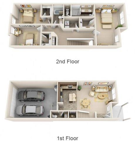 Floor Plan  The Landing Apartments The Sequoia 3x2.5 Floor Plan 1578 Square Feet