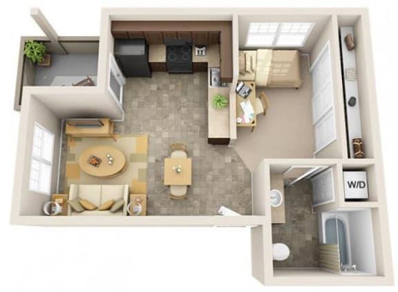 Floor Plan  The Landing Apartments Studio 0x1 Floor Plan 493 Square Feet