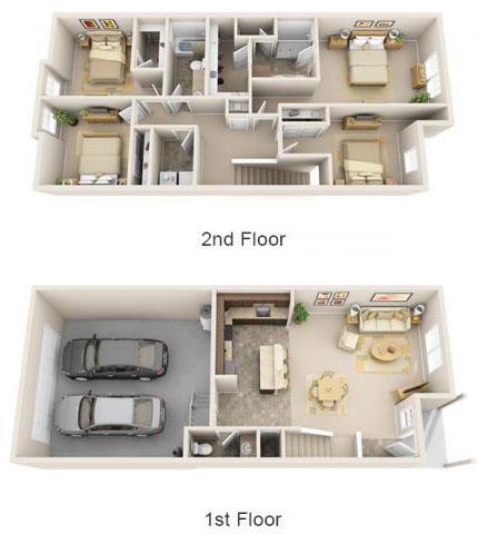 Floor Plan  The Landing Apartments The Barret 3x2.5 Floor Plan 1793 Square Feet