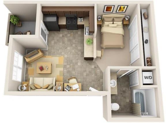 Floor Plan  The Landing Apartments The Bay Studio 0x1 Floor Plan 483 Square Feet