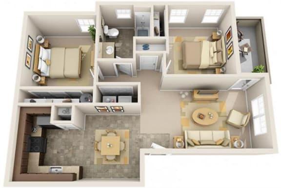 Floor Plan  The Landing Apartments The Helm 2x1 Floor Plan 879 Square Feet