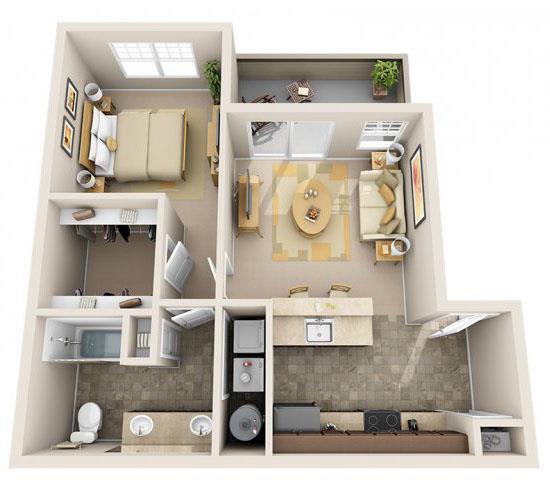 Floor Plan  The Landing Apartments The Stern 1x1 Floor Plan 652 Square Feet