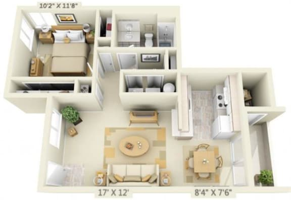 Floor Plan  Clackamas Trails Apartments 1x1 Floor Plan 699 Square Feet