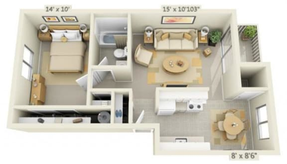 Floor Plan  Rolling Hills Apartments 1x1 Floor Plan 618 Square Feet, opens a dialog.