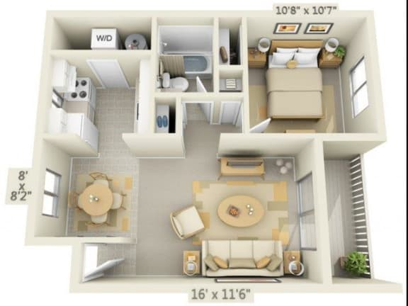 Floor Plan  Rolling Hills Apartments 1x1 Floor Plan A 646 Square Feet, opens a dialog.