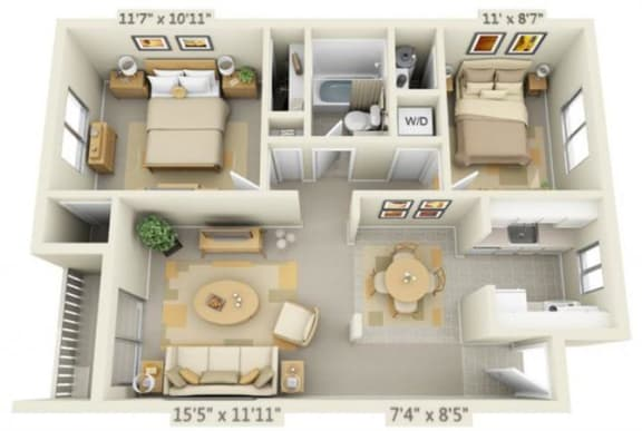 Floor Plan  Rolling Hills Apartments 2x1 Floor Plan A 776 Square Feet, opens a dialog.