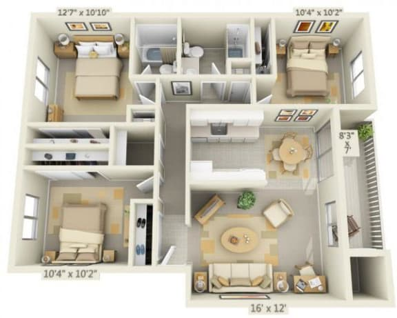 Floor Plan  Rolling Hills Apartments 3x2 Floor Plan 1089 Square Feet, opens a dialog.
