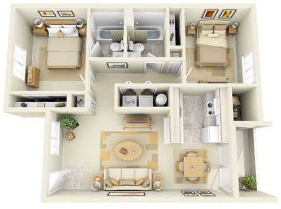 Floor Plan  Hathaway Court 2x2 Floor Plan 893 Square Feet