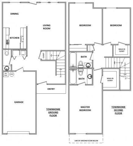 Floor Plan  Hathaway Court Townhome 3x2.5 Floor Plan 1425 Square Feet