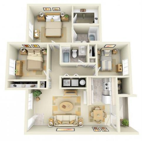 Floor Plan  Hathaway Court 3x2 Floor Plan 1085 Square Feet