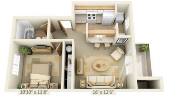 Floor Plan  Maple Pointe Apartments Sugar Maple 1x1 Floor Plan 513 Square Feet