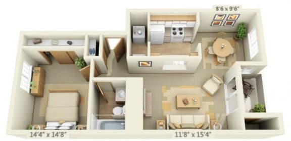 Floor Plan  Maple Pointe Apartments Full Moon Maple 1x1 Floor Plan 666 Square Feet, opens a dialog.