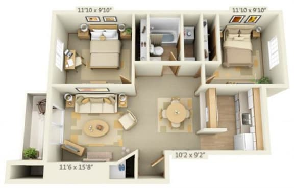 Floor Plan  Maple Pointe Apartments Silver Maple 2x1 Floor Plan 837 Square Feet, opens a dialog.