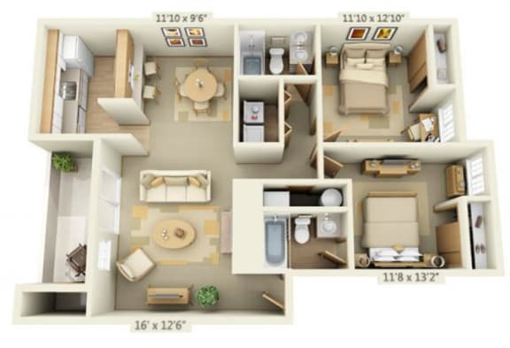 Floor Plan  Maple Pointe Apartments Coliseum Maple 2x2 Floor Plan 946 Square Feet, opens a dialog.
