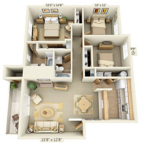 Floor Plan  Maple Pointe Apartments Three Flower Maple 3x2 Floor Plan 1097 Square Feet, opens a dialog.
