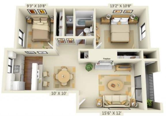 Floor Plan  Pembrooke Apartments Alki 2x1 Floor Plan 840 Square Feet