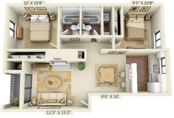 Floor Plan  Pembrooke Apartments Washington 2x2 Floor Plan 876 Square Feet