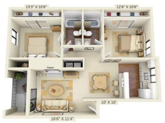 Floor Plan  Pembrooke Apartments Paramount 2x2 Floor Plan 956 Square Feet