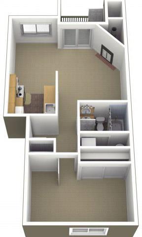Floor Plan  Riverwood Apartments 1x1 Floor Plan 646 Square Feet