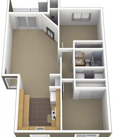 Floor Plan  Riverwood Apartments 2x1 Floor Plan 850 Square Feet, opens a dialog.