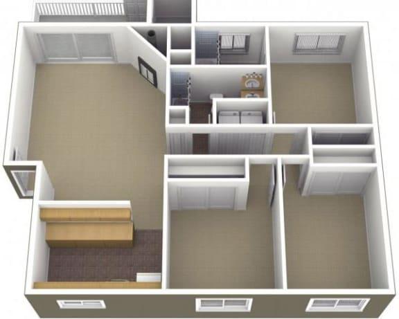 Floor Plan  Riverwood Apartments 3x2 Floor Plan 1200 Square Feet, opens a dialog.