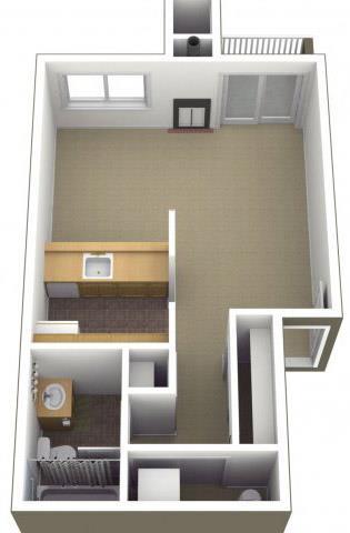 Floor Plan  Riverwood Apartments Studio 0x1 Floor Plan 500 Square Feet, opens a dialog.