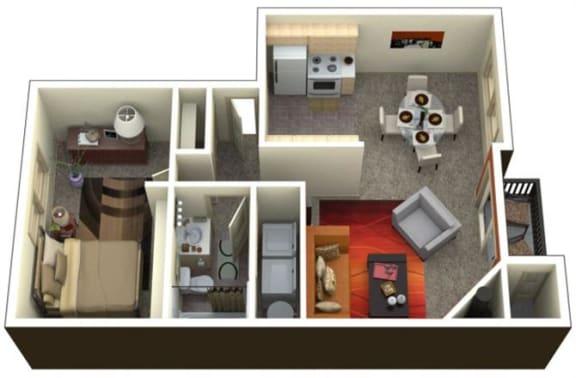 Floor Plan  Chambers Creek Estates 1x1 Floor Plan 722 Square Feet, opens a dialog.