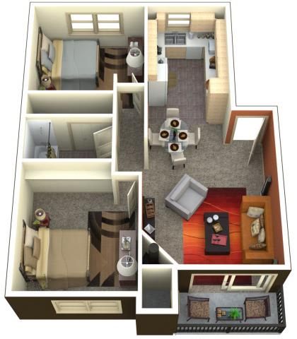 Floor Plan  Chambers Creek Estates 2x1 Floor Plan 947 Square Feet, opens a dialog.