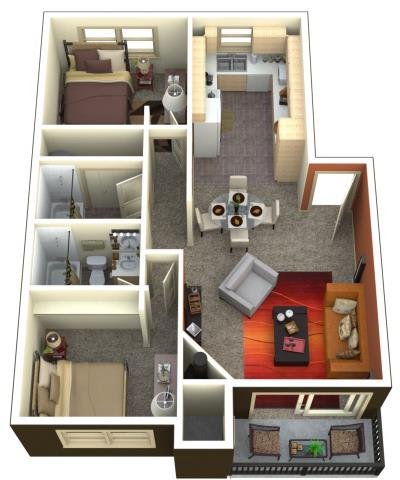 Floor Plan  Chambers Creek Estates 2x2 Floor Plan 1045 Square Feet, opens a dialog.