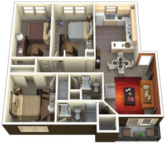 Floor Plan  Chambers Creek Estates 3x2 Floor Plan 1315 Square Feet, opens a dialog.