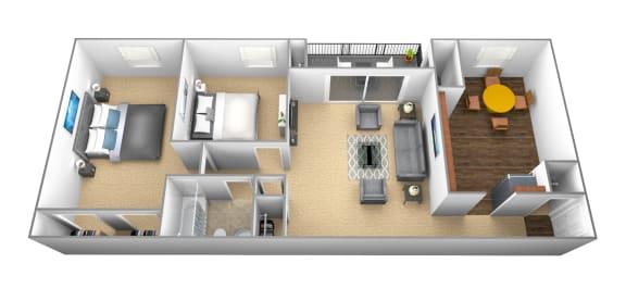 Floor Plan  2 bedroom, 1 bathroom 3D floor plan at Windsor House Apartments in Middle River, MD