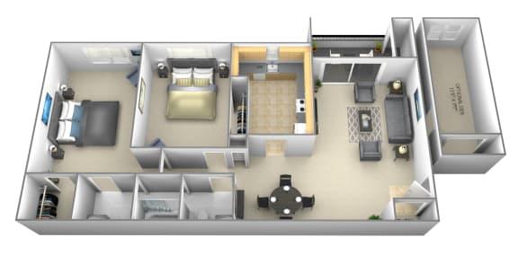 Floor Plan  2 bedroom 1 bathroom with optional den a floor plan at Woodsdale Apartments in Abingdon, MD