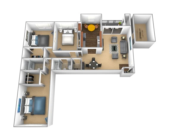 Floor Plan  3 Bedroom 2 bathroom apartment at Cromwell Valley in Towson, Maryland