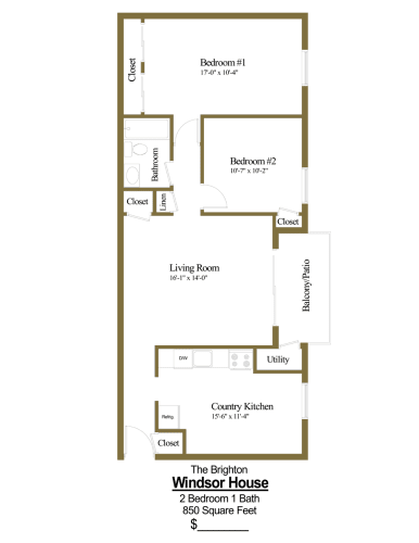 Floor Plan  2 bedroom, 1 bathroom floor plan at Windsor House Apartments in Middle River, MD