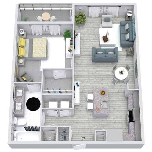 Floor Plan  1 bed 1 bath floorplan, at NorthPointe, Greenville