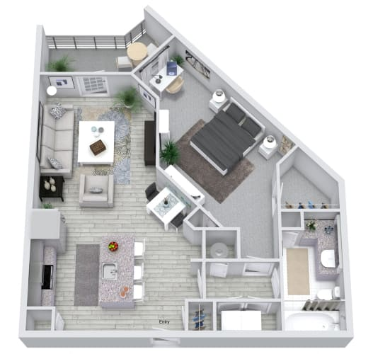 Floor Plan  1 Bedroom 1 Bath 749 sqft (A2) Floorplan at NorthPointe, Greenville