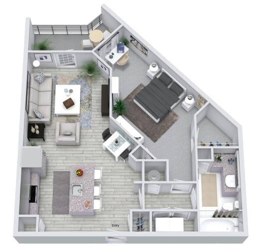 Floor Plan  1 bed 1 bath floorplan, at NorthPointe, South Carolina