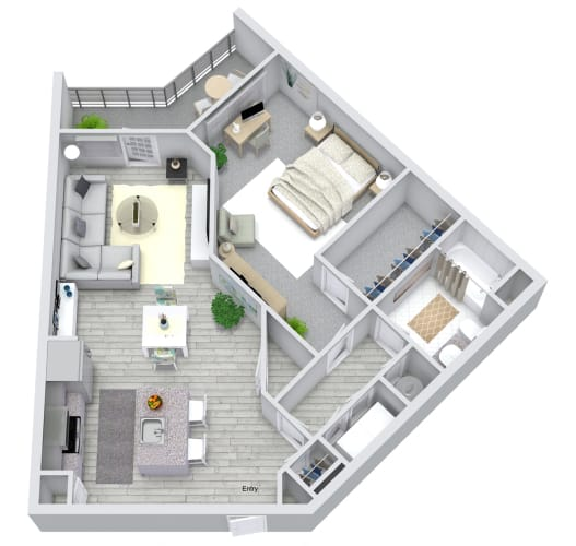 Floor Plan  1 bed 1 bath floorplan, at NorthPointe, South Carolina, 29601