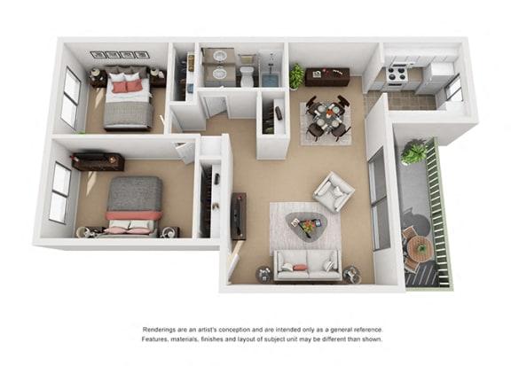 Floor Plan  2 bed 1 bath floorplan, at Pacific Oaks, Goleta California