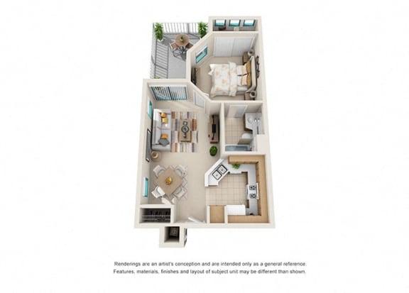 Floor Plan  1 bed 1 bath floorplan, at Rancho Franciscan Senior Apartments, California