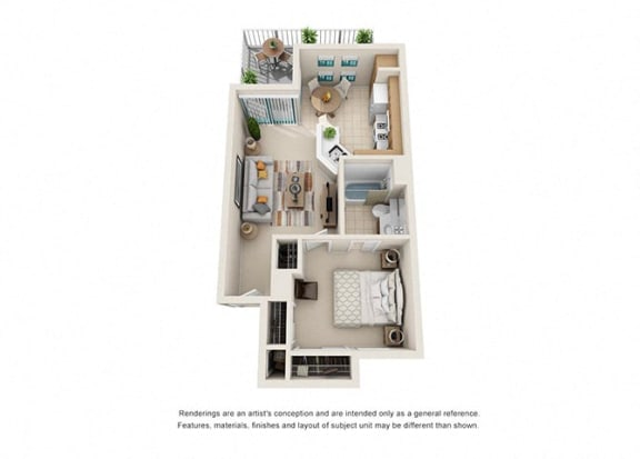 Floor Plan  1 bed 1 bath floorplan, at Rancho Franciscan Senior Apartments, California, 93105