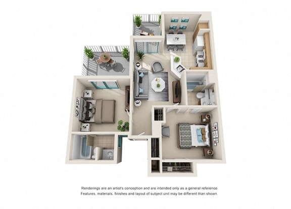 Floor Plan  1 bed 1 bath floorplan, at Rancho Franciscan Senior Apartments, Santa Barbara, CA 93105