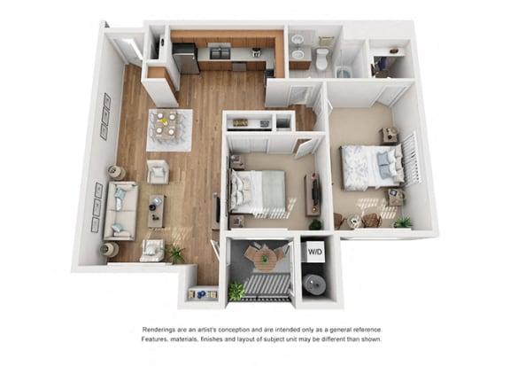 Floor Plan  Plan 10 2 Bedroom 1 Bathroom 3D Floor Plan at Hancock Terrace Apartments, California, 93454