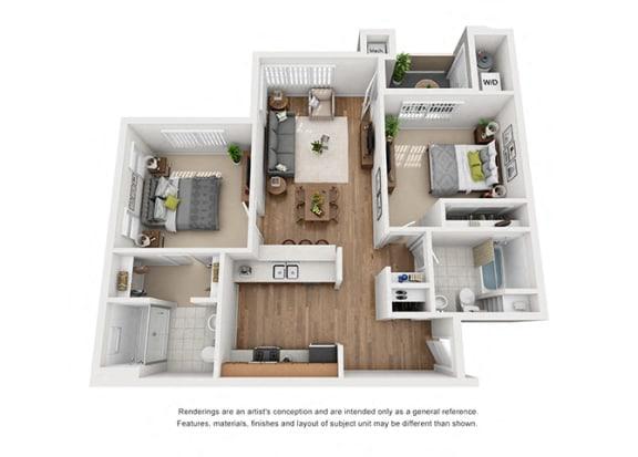 Floor Plan  Plan 11 2 Bedroom 2 Bathroom 3D Floor Plan at Hancock Terrace Apartments, Santa Maria, CA, 93454