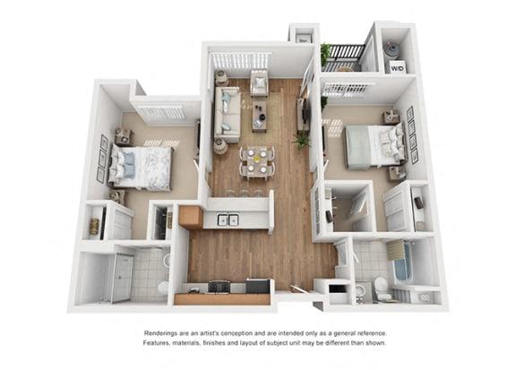 Floor Plan  Plan 12 2 Bedroom 2 Bathroom 3D Floor Plan at Hancock Terrace Apartments, Santa Maria, CA
