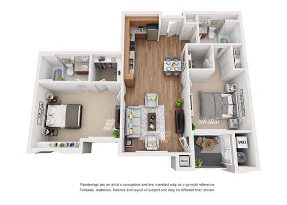 Floor Plan  Plan 13 2 Bedroom 2 Bathroom 3D Floor Plan at Hancock Terrace Apartments, Santa Maria, 93454