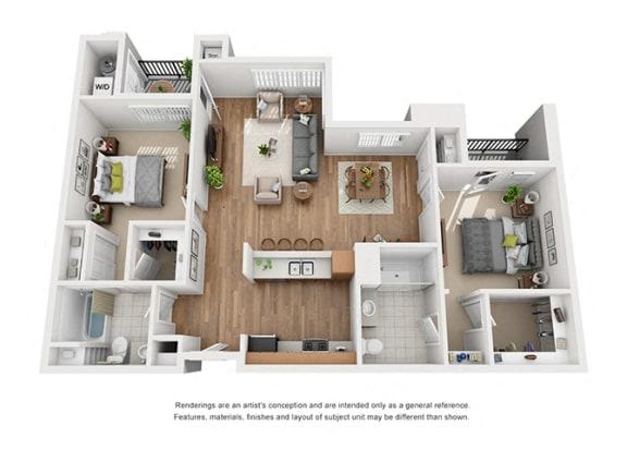 Floor Plan  Plan 14 2 Bedroom 2 Bathroom 3D Floor Plan at Hancock Terrace Apartments, Santa Maria, California